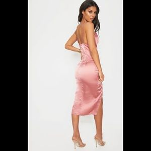 Rose Strappy Satin Cowl Midi Dress PLT